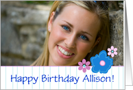 Happy Birthday Custom Photo Name Card Blue Flowers card