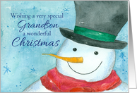 Merry Christmas Grandson Snowman Snowflakes Watercolor card