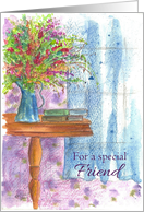 For A Special Friend Flower Bouquet Watercolor Art card