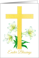 Easter Blessings Cross White Lily Flowers card