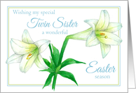 Happy Easter Twin Sister White Lily Flower Drawing card