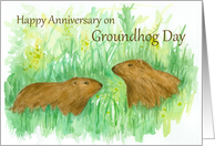 Happy Anniversary on Groundhog Day Watercolor Art card
