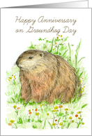 Happy Anniversary on Groundhog Day Animal Art card