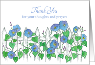 Thank You For Thoughts and Prayers Morning Glory Flowers card