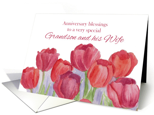 Anniversary Blessings Grandson and Wife Red Tulips card (1266084)