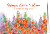 Happy Sister's Day Big Sister Orange Red Gladiola Flowers card