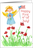Happy First 4th of July Patriotic Angel Red Poppies card