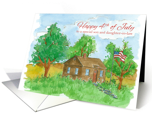 Happy 4th of July Son and Daughter In Law Flag Painting card (1274614)