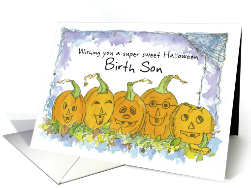 Happy Halloween Birth Son Pumpkins Funny Faces Spiders card (1290824)