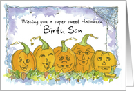Happy Halloween Birth Son Pumpkins Funny Faces Spiders card