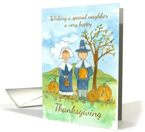 Happy Thanksgiving Neighbor Pilgrims Country Landscape card (1292178)