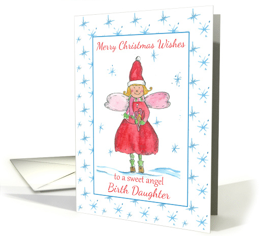 Merry Christmas Sweet Angel Birth Daughter Blue Snowflakes card