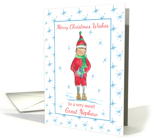 Merry Christmas Great Nephew Holiday Elf Snowflakes card (1313896)