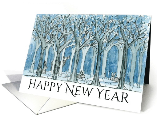 Happy New Year Woodland Forest Animals Deer card (1332860)