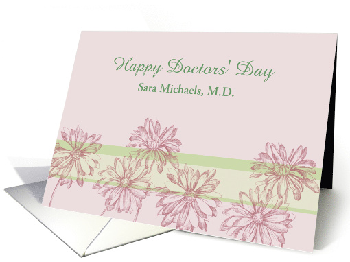 Happy Doctors' Day Custom Name Daisy Botanical Art Mauve Floral card