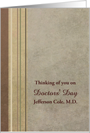 For You On Doctors' Day Custom Name Stripes Earth Tones card