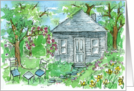 First New Home Announcement Cottage Garden Landscape Painting card