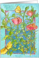 Happy Birthday Pink Roses Butterflies Watercolor card