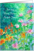 Friendship Garden Watercolor Flowers Custom Name card