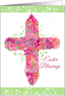 Easter Blessings Cross Flowers Watercolor Floral card