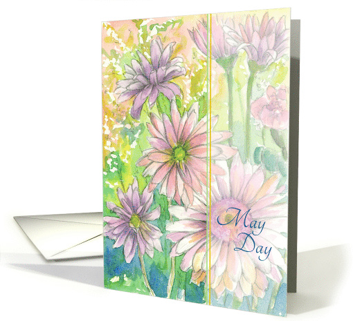 Happy May Day Pink Daisy Flowers card (1376666)