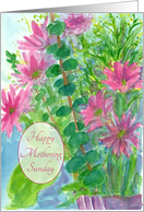 Happy Mothering Sunday Pink Daisy Flowers Watercolor Painting card