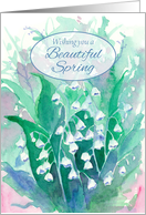 Wishing You A Beautiful Spring Lily of the Valley Flowers Watercolor card