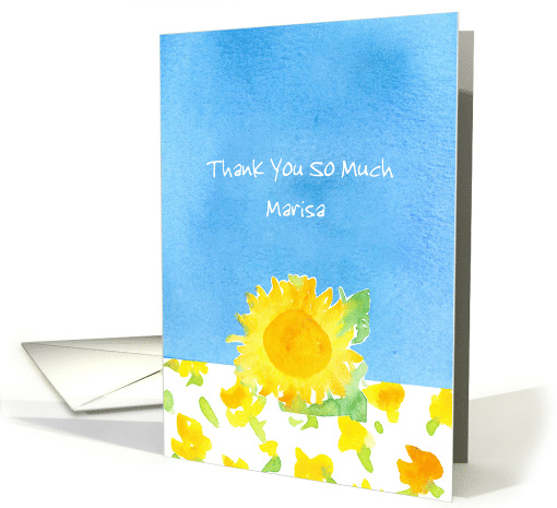 Thank You Custom Name Yellow Sunflower Sky Blue Watercolor card