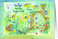 Birthday Party Invitation Bugs Butterfly Garden Insects card