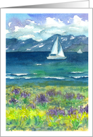 Happy Birthday Sailing Mountain Lake Lupine Wildflowers Watercolor card