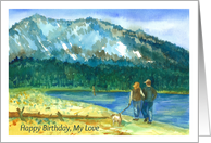 Happy Birthday My Love Romantic Couple Walking Dog Watercolor card
