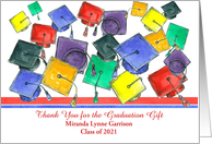Graduation Gift Thank You Caps School Colors Stripes Custom Name card