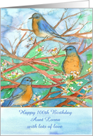 Happy 100th Birthday Bluebirds Watercolor Custom Name card