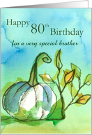 Happy 80th Halloween Birthday Brother Ghost Pumpkin Watercolor card