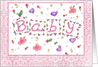 New Baby Girl Pink Birth Announcement card