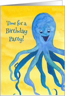 Kids Birthday Party Invitation Blue Octopus Watercolor card