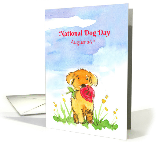 National Dog Day August 26 Puppy Flowers card (1533706)