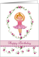 Happy Birthday Ballet Girl Pink Roses card
