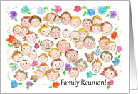 Family Reunion Invitation Flowers Funny Faces Kids Illustration card