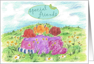 Happy Day Special Friends Girls Flower Meadow Summer card