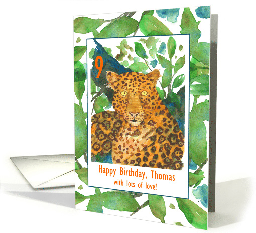 Happy 9th Birthday Jaguar Cat Wild Animal Custom Name card (1602896)