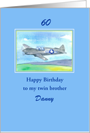 Happy 60th Birthday Twin Brother Vintage Airplane Custom Name card