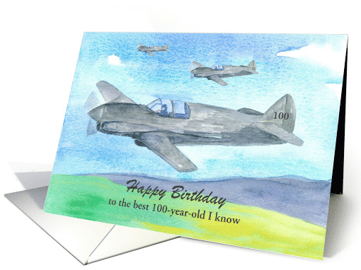 Happy 100th Birthday Vintage Military Planes Custom Name card