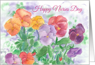 Happy Nurses Day Rainbow Pansy Garden Watercolor card