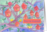 Housewarming Party Invitation Red Birdhouses Yellow Birds card