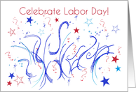 Celebrate Labor Day Red White Blue Stars Confetti card