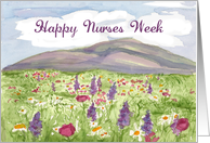 Happy Nurses Day Mountain and Meadow Landscape Art card