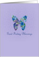 Good Friday Blessings Card Butterfly Watercolor Flowers card