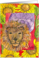 Happy Birthday Leo Astrology Lion Sunflowers card