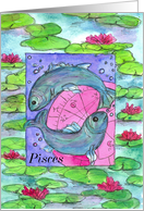 Happy Birthday Pisces Astrology Sign Fish card